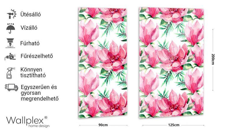 Wallplex fürdőszobai dekorpanel Egzotikus virágok akvarell termékadatlap