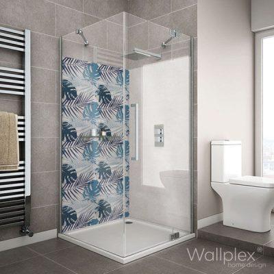Wallplex fürdőszobai dekorpanel Kék pálmalevelek zuhanyzó