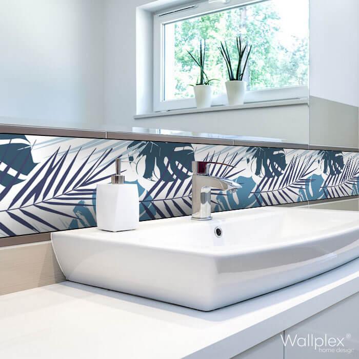 Wallplex fürdőszobai dekorpanel Kék pálmalevelek mosdóhoz