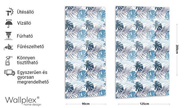 Wallplex fürdőszobai dekorpanel Kék pálmalevelek termékadatlap