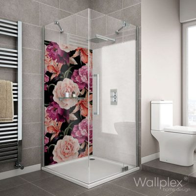Wallplex fürdőszobai dekorpanel Rózsák zuhanyzó