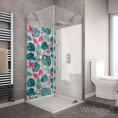Wallplex fürdőszobai dekorpanel Rózsaszín hibiskus zuhanyzó