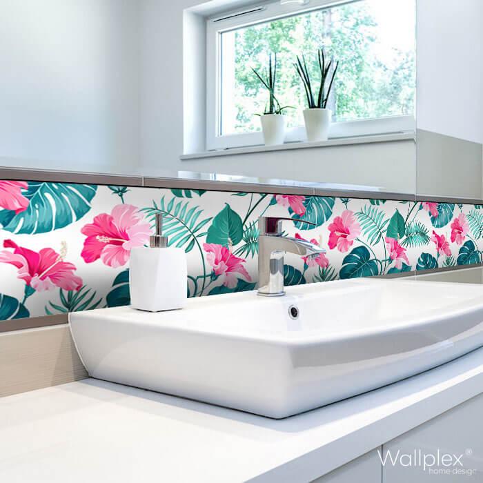 Wallplex fürdőszobai dekorpanel Rózsaszín hibiszkusz modóhoz