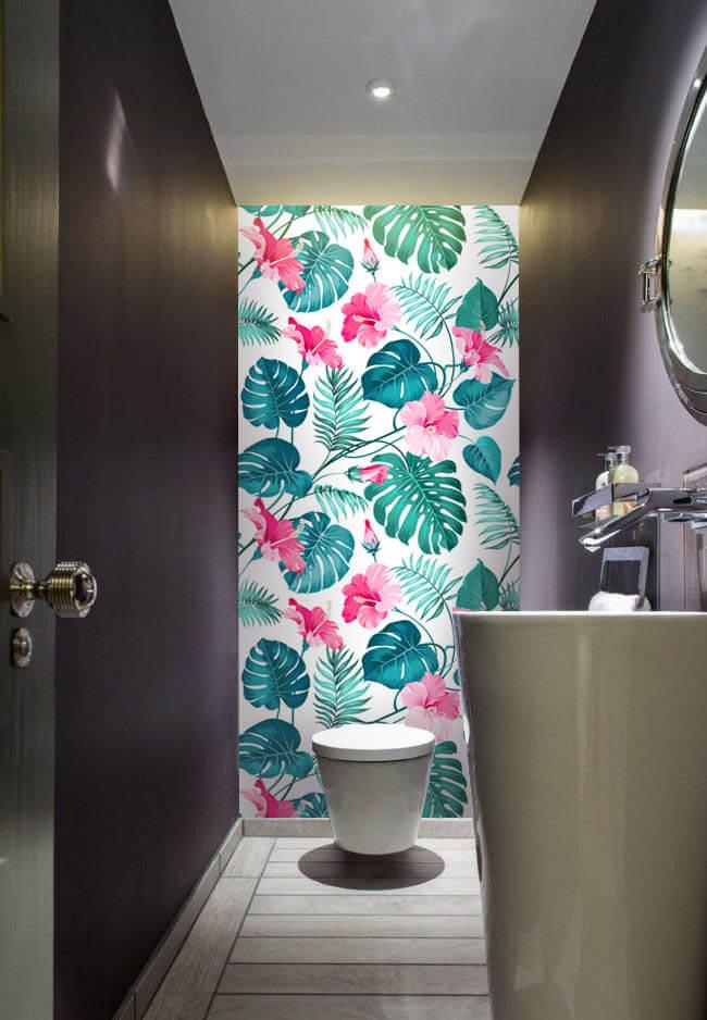 Wallplex fürdőszobai dekorpanel Rózsaszín hibiszkusz mellékhelyiségbe
