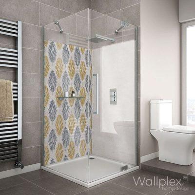 Wallplex fürdőszobai dekorpanel Trópusi levelek zuhanyzó