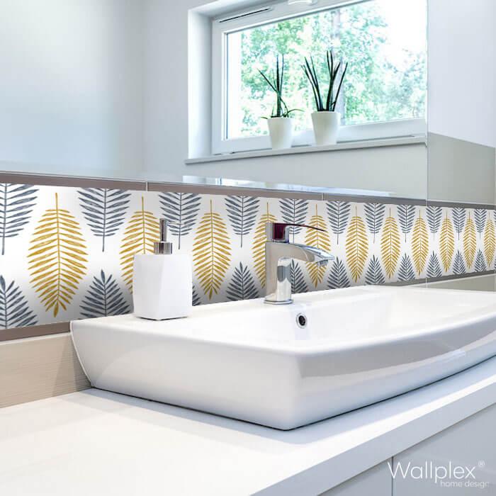 Wallplex fürdőszobai dekorpanel Trópusi levelek mosdóhoz