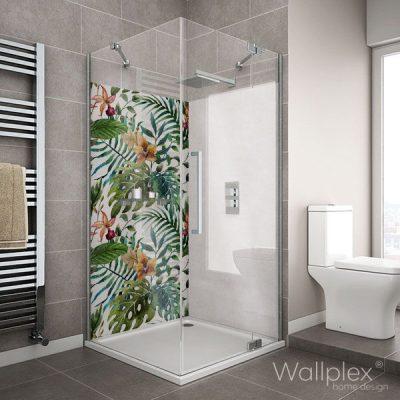 Wallplex fürdőszobai dekorpanel Trópusi pálmalevelek zuhanyzó