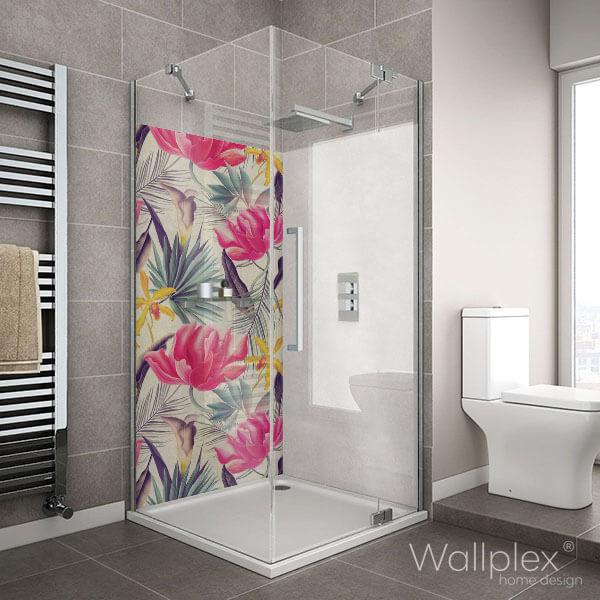 Wallplex fürdőszobai dekorpanel Trópusi virágok pink zuhanyzó