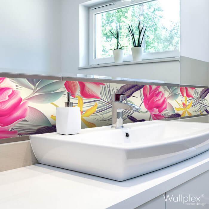 Wallplex fürdőszobai dekorpanel Trópusi pálmalevelek mosdóhoz