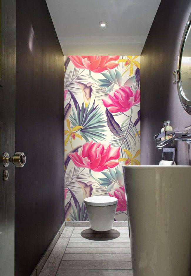 Wallplex fürdőszobai dekorpanel Trópusi virágok pink mellékhelyiség