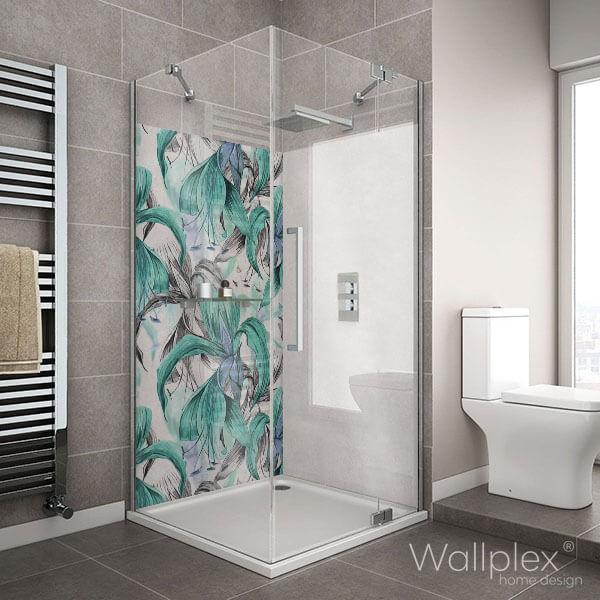 Wallplex fürdőszobai dekorpanel Trópusi virágok türkiz zuhanyzó
