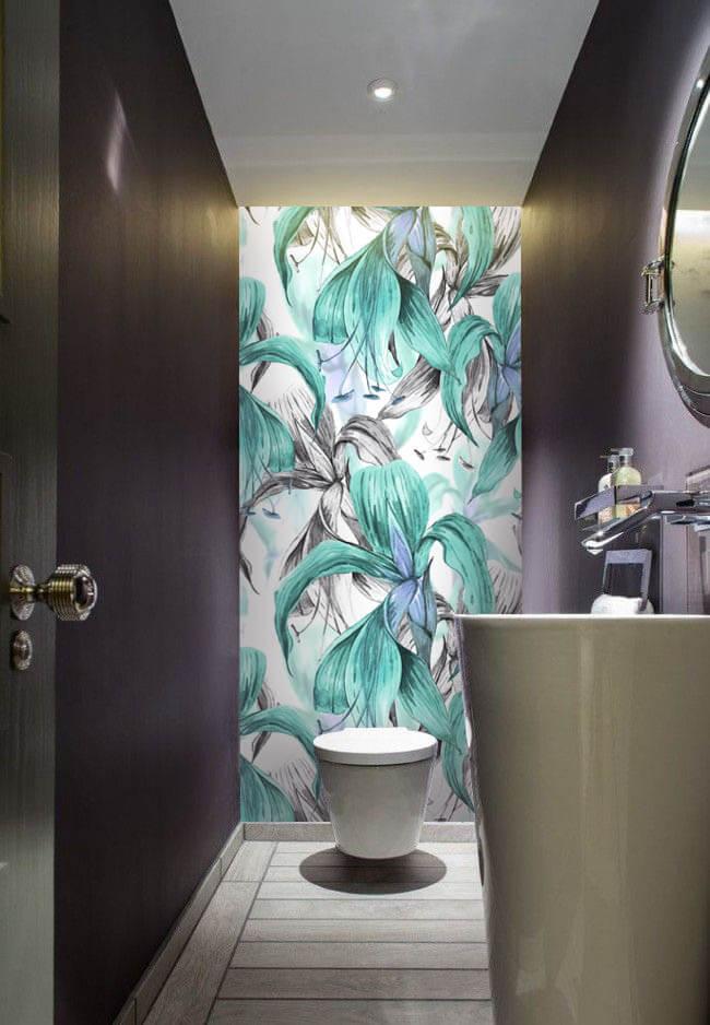 Wallplex fürdőszobai dekorpanel Trópusi virágok türkiz mellékhelyiség