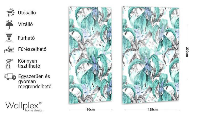 Wallplex fürdőszobai dekorpanel Trópusi virágok türkiz termékadatlap