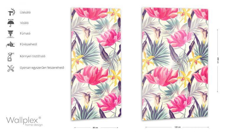Wallplex fürdőszobai dekorpanel Trópusi virágok pink termékadatlap