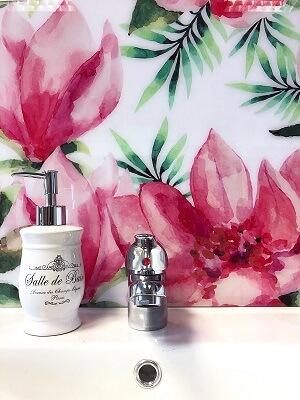 egzotikus virágok akvarell mosdó wallplex