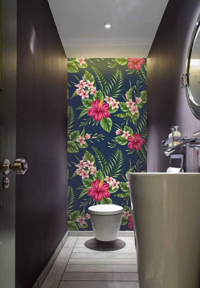 Wallplex fürdőszobai dekorpanel fekete hibiszkusz mellékhelyiségbe
