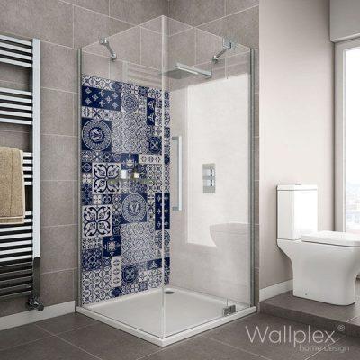 Wallplex fürdőszobai falburkoló kék csempe minta
