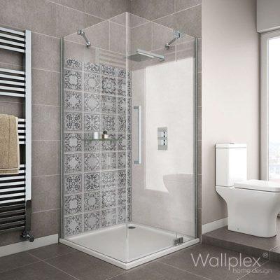 wallplex fürdőszobai falburkoló szürke csempe minta