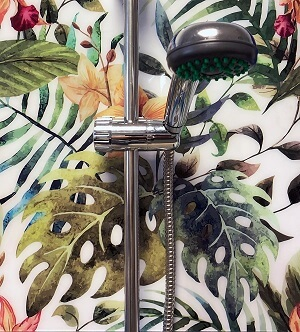 trópusi pálmalevelek zuhany wallplex