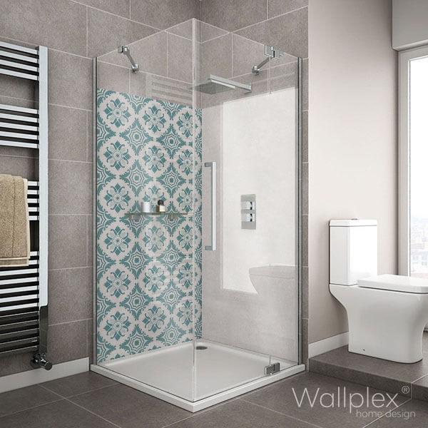 Wallplex fürdőszobai falburkoló zöld csempe minta
